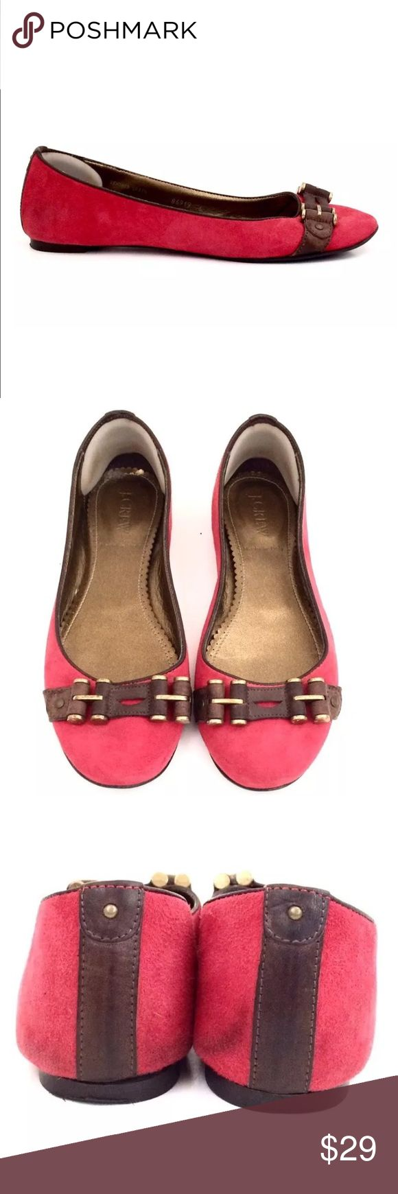 J. Crew Red Suede, Leather Ballet Flats Size 6 J. Crew Red Suede, Leather Ballet Flats Size 6.  Padded heel, brown leather and brass embellished toe. Small marks on left and right heel. Please see photos and feel free to ask questions. Thanks for looking! J. Crew Shoes Flats & Loafers