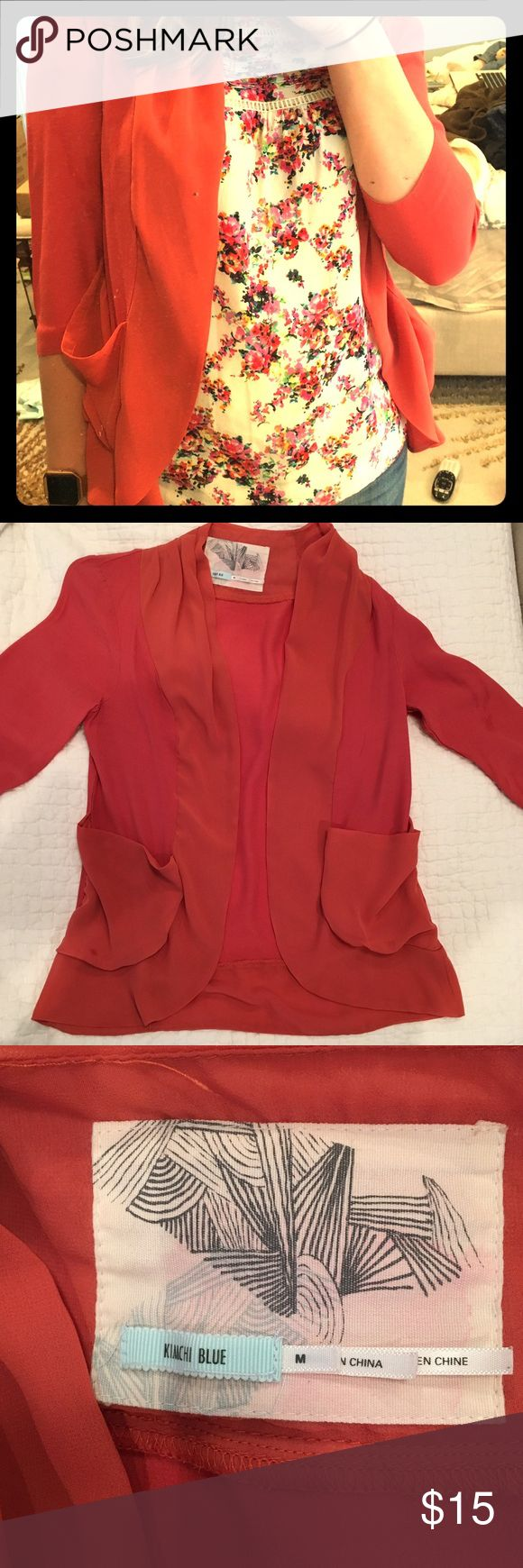 Urban Outfitter Burnt Orange Open Cardigan Blouse Size medium. Great open blouse that looks great over any shirt! Three quarter length sleeves are perfect for the in between weather. Light and flows perfect for a relaxed look! And such a great color! Urban Outfitters Tops