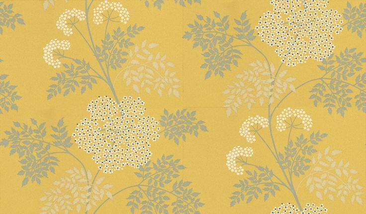 Cowparsley (DOPWCO105) - Sanderson Wallpapers - A delicate, romantic design with tiny jewel-like flowers layered with lacy ferns. Available in 6 colours – shown with creams and greys on a strong yellow. Please ask for a sample for true colour match.