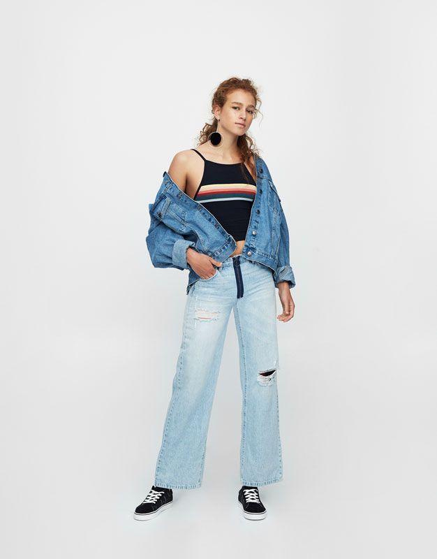 Pull&Bear - femme - vêtements - t-shirts - bretelles - crop top col halter arc-en-ciel - bleu marine - 09234314-I2017