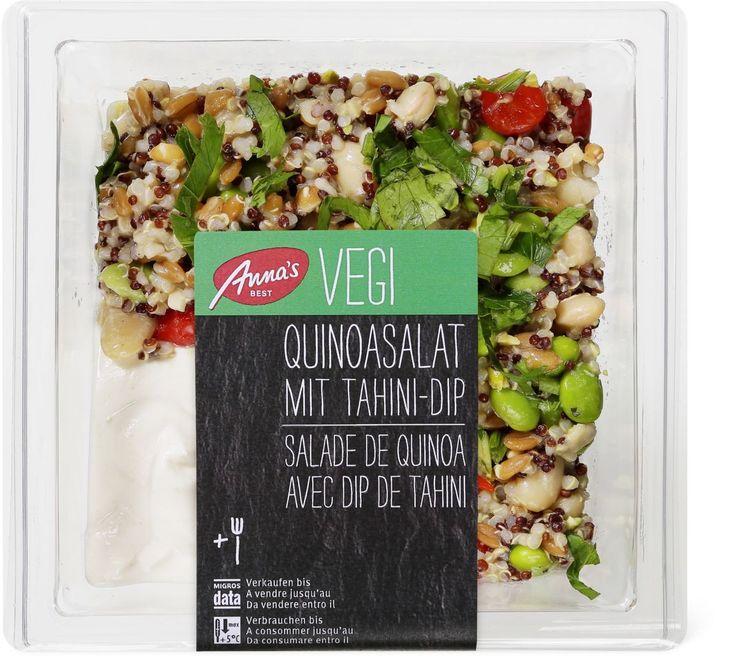 Salade de quinoa végétarienne avec dip au tahini. Prix 6.40. Fraîchement préparée, c'est avec son dip au tahini, à base de pâte de sésame, de gingembre et de jus de citron vert que la salade de quinoa Anna's Best déploie toute son incomparable saveur.  Avec 23% de quinoa et 11% de fèves de soja et de poivrons. Anna's Best V Label Elaboré en Suisse. Ingrédients: Quinoa 23%, fèves de soja 11%, haricots, yogourt, épeautre, séré maigre, poivrons 9%, eau, sésame, vinaigre de blanc, huile de…