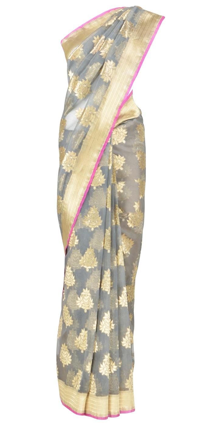 Ekaya    Grey and pink banarasi kora sari with gold and silver motifs.