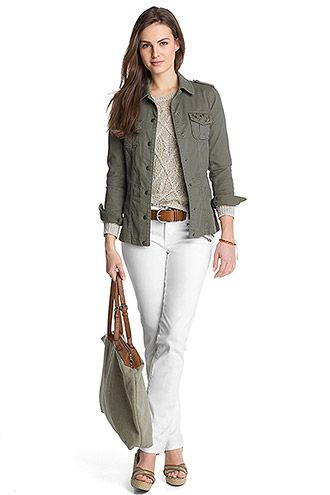 white pants with brown shoes and belt, olive green jacket or blouse and green Longchamp