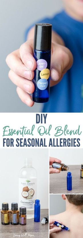 A simple DIY essential oil blend for seasonal allergies that may help combat congestion, runny nose, sneezing, and watery eyes for kids and adults.