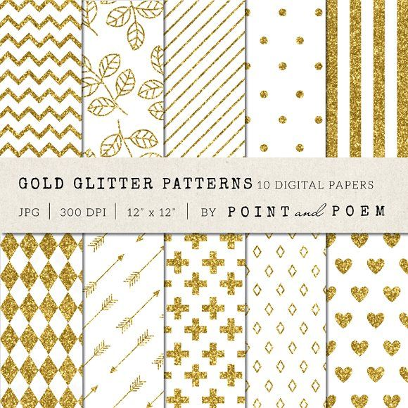 Gold Glitter Patterns by Point and Poem on @creativemarket