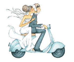 Bride n groom on a scooter