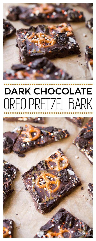 Dark Chocolate Oreo Pretzel Bark   This Gal Cooks #dessert #candybark