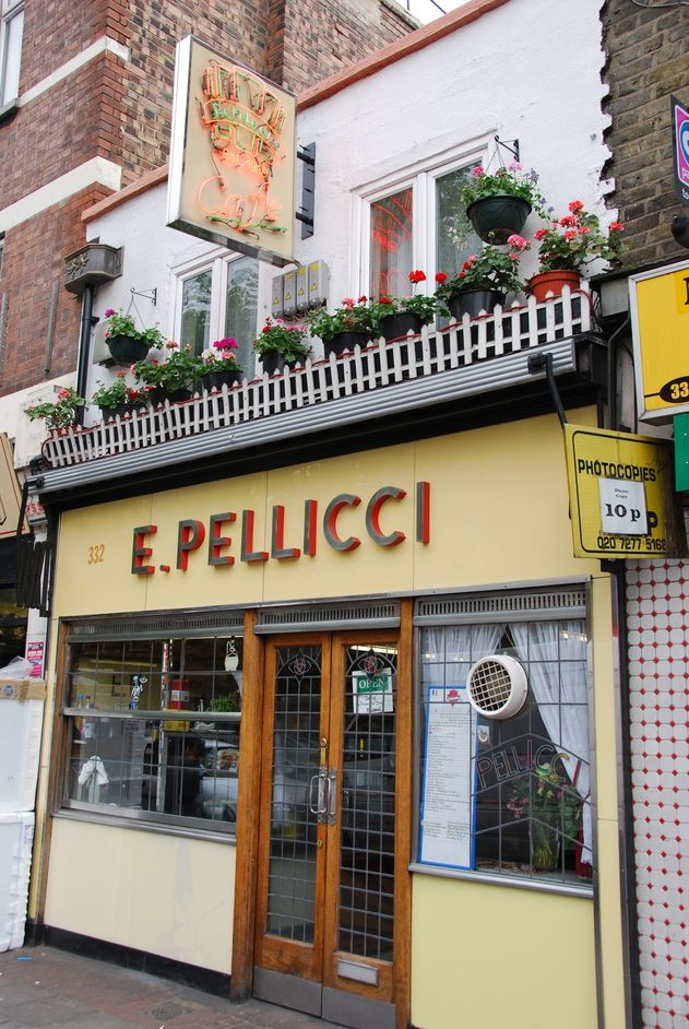Looking for an old fashioned cafe in London this is your place Pellicci in Bethnal Green.  This place has stood the test of time for 112 years, the family run cafe is like nowhere else.  Here you can get the original fry-up The Set Breakfast is egg, bacon, sausage, mushrooms, tomatoes and fried bread.  I like to get an extra bubble & squeak and a black pudding.  This is like going back to the fifties fry up any time of day.