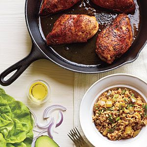 Under 40 Minutes: Blackened Chicken with Dirty Rice and Avocado–Butter Lettuce Salad