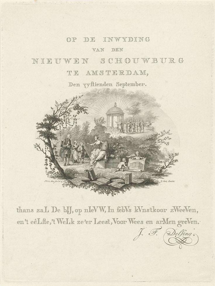 Noach van der Meer (II) | Tijdvers op de inwijding van de nieuwe Schouwburg te Amsterdam, 1774, Noach van der Meer (II), 1774 | Blad met een ovale allegorische voorstelling en een tweeregelig tijdvers op de inwijding van de nieuwe Amsterdamse Schouwburg, 15 september 1774. De stedenmaagd van Amsterdam met op haar schoot een nieuwe bijenkorf, op de voorgrond boeken en geschriften met toneelwerken, rechts ontrollen twee putti een afbeelding van de nieuwe schouwburg. In het verschiet Apollo en…