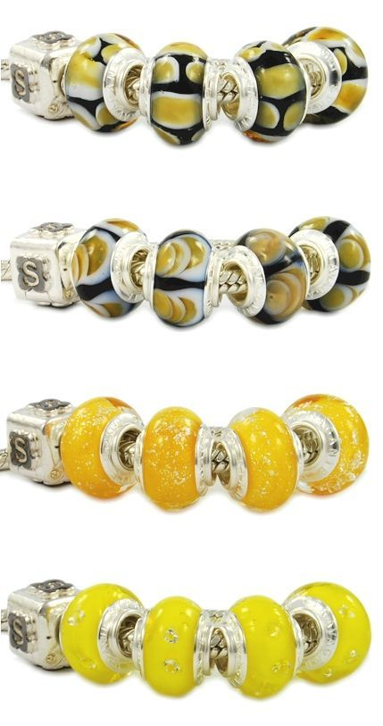 Fine Pandora style beads with amber and orange tonality. Colorful Murano glass beads hand made in Italy Venice. Wholesale fashion jewelry, bright, imaginative, customizable. Assembled with a single piece of 925 sterling silver core. To better clarify, the glass beads are equipped with a monolithic piece of silver, and not with two cheap eyelets sticked with glue like most Chinese low-quality beads. Venetian glass jewelry.