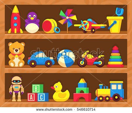 Kids toys on wood shop shelves.