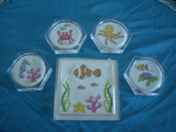 Tropical Sea Creature Clear Acrylic Trivet/Hot Pad- Hand Stitched