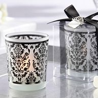 """""""Damask Traditions"""" Black and White Frosted Glass Tea Light Holder - Wedding"""