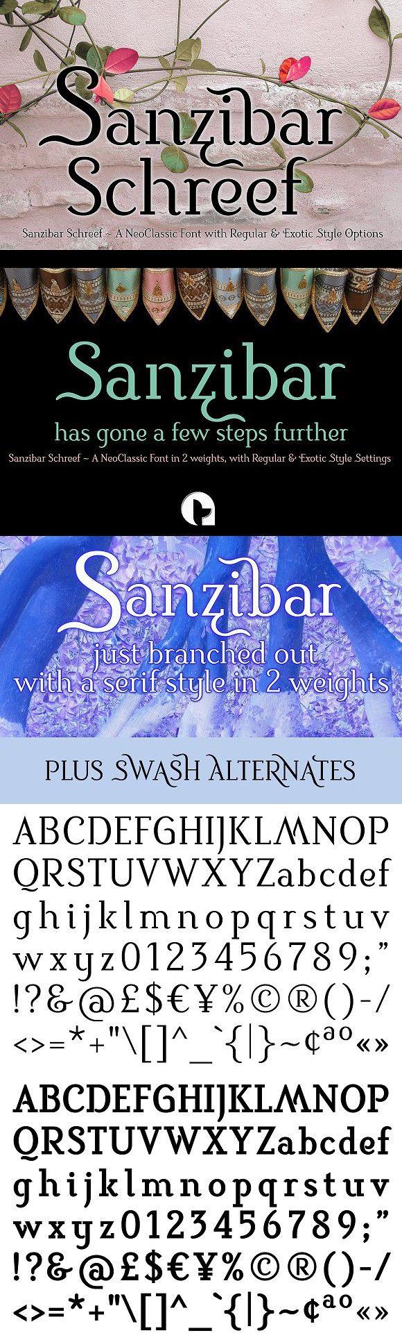 Sanzibar Schreef. Slab Serif Fonts. $39.00