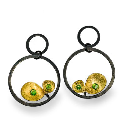 Enric Majoral at Patina Gallery. Earrings, ~Arracades Plata~ Gold and Oxidized Sterling Silver, Green Garnets