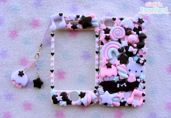 Pastel goth kawaii iphone 4/4s/5 and galaxy s2 s3 s4 front back case cover