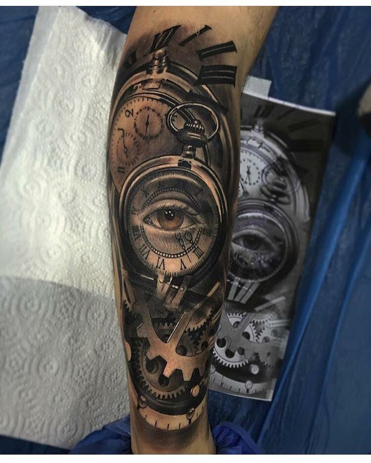 Sleeve tattoo. Clock eye