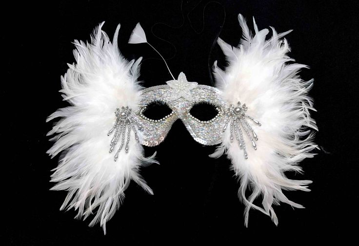 Vintage ornate masquerade ball costume party mask, silver sequins, rhinestone and white feather embellishment, avant-garde swan lake fashion by illumilani on Etsy