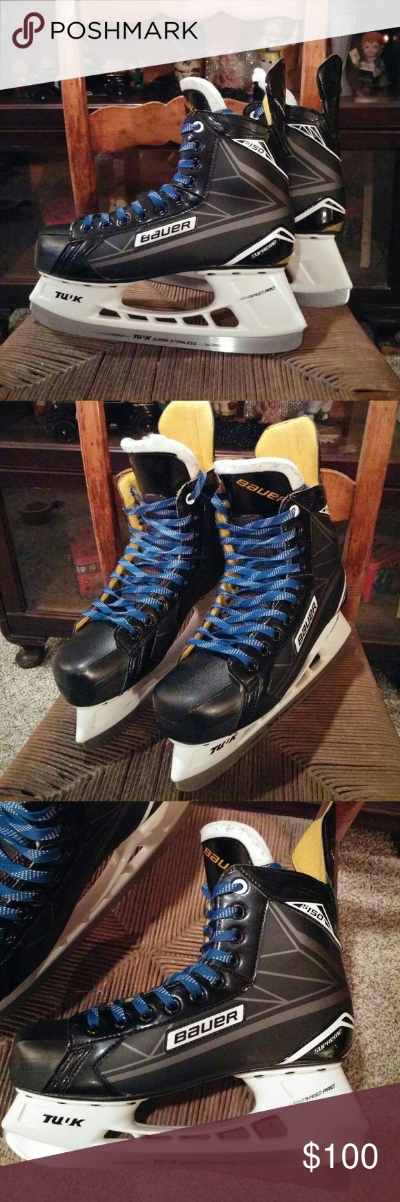 Bauer S150 Supreme Hockey Skates Skate size is an 8D..which equals a 9.5 mens shoe size..or equal to a 10.5 in woman's shoes. They have only been skated on 2 times. Original price $150.00. Sharpened and ready to skate. New waxed laces. Shoes Athletic Shoes