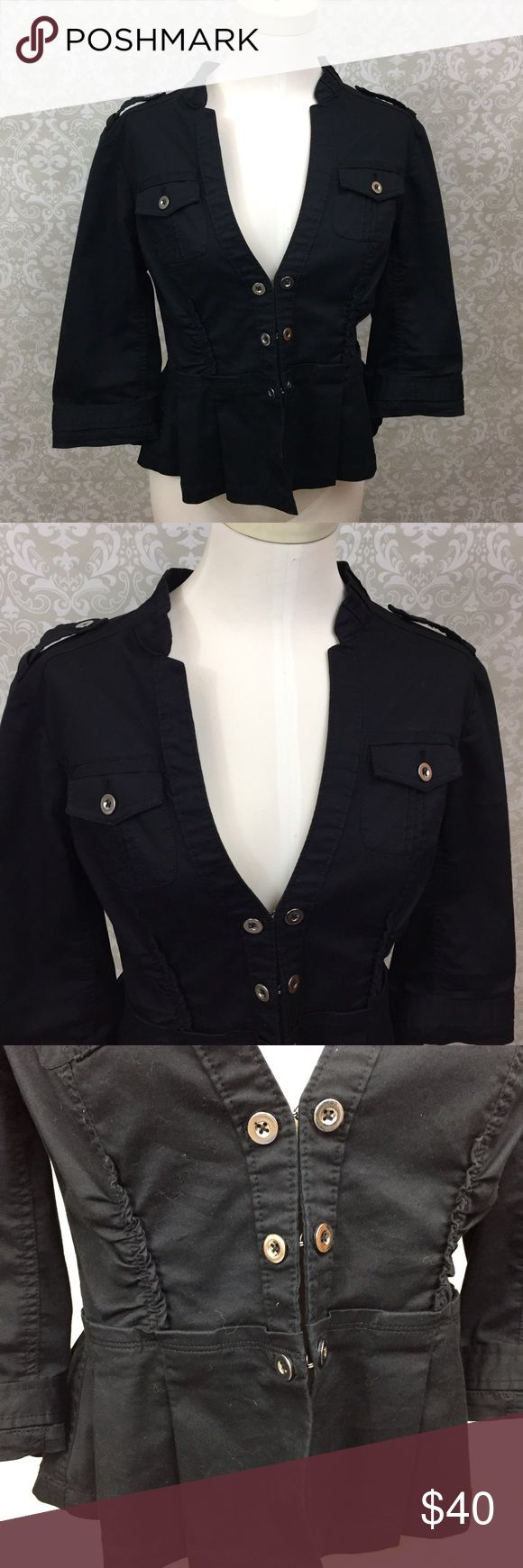 ⛱WHBM Womens Black Utility Safari Jacket Size 8 WHBM Womens Black Utility Safari Jacket Size 8  This has been gently worn with no major flaws.  Please refer to photos for more details. White House Black Market Jackets & Coats