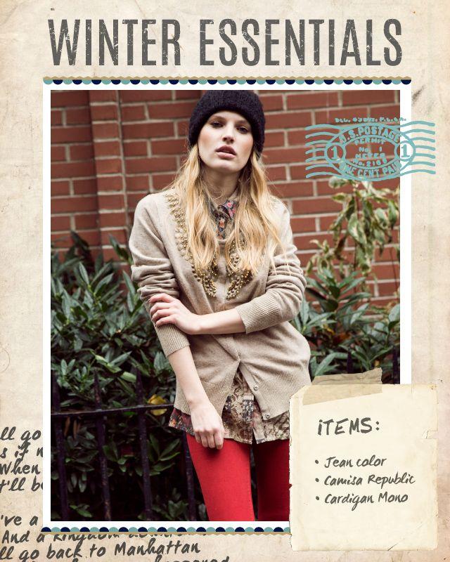Jean Color / Camisa Republic / Cardigan Mono #winteressentials #indiastyle