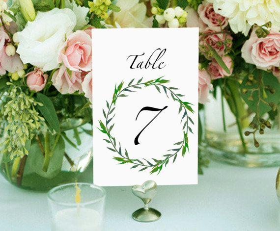 Printable table numbers wedding table by PrintableMemoriesCo