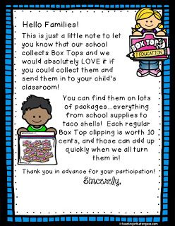 FREE Box Top letter for families