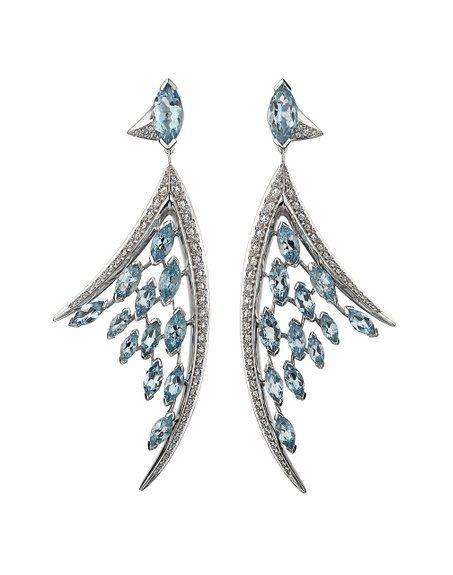 Shaun Leane in oro bianco 18 kt con diamanti taglio Marquise e acquamarine antenna per orecchini, grande