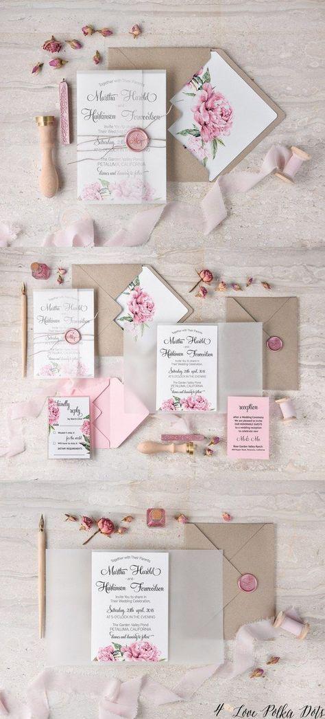 Vintage pink watercolor wedding invitations #pinkwedding