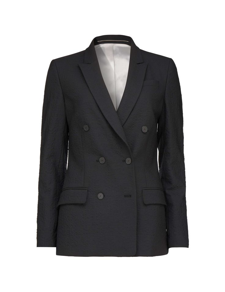"""Women's hourglass blazer in wool blend with seersucker structure. Features front double-breasted button fastening. Front flap pockets and one chest pocket. Sleeve with slit and button fastening. Single vent at back. Fully lined. Regular fit. Below-hip length.</br></br>For a complete suit look wear it with <a href=""""http://tigerofsweden.com/se/trousers/boutis-trousers-S64635002.html"""" style=""""font-weight:bold; text-dec..."""