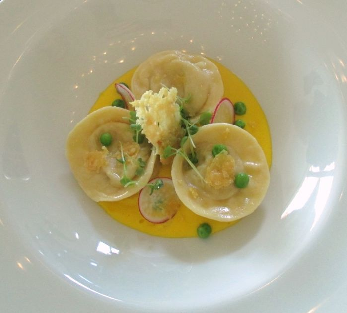 One of the starters from the new menu: Alaskan Crab tortellini with sweetcorn and saffron puree, parmesan crisp, radish and green pea