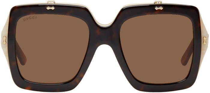 Gucci Tortoiseshell Oversized Square Flip-Up Sunglasses