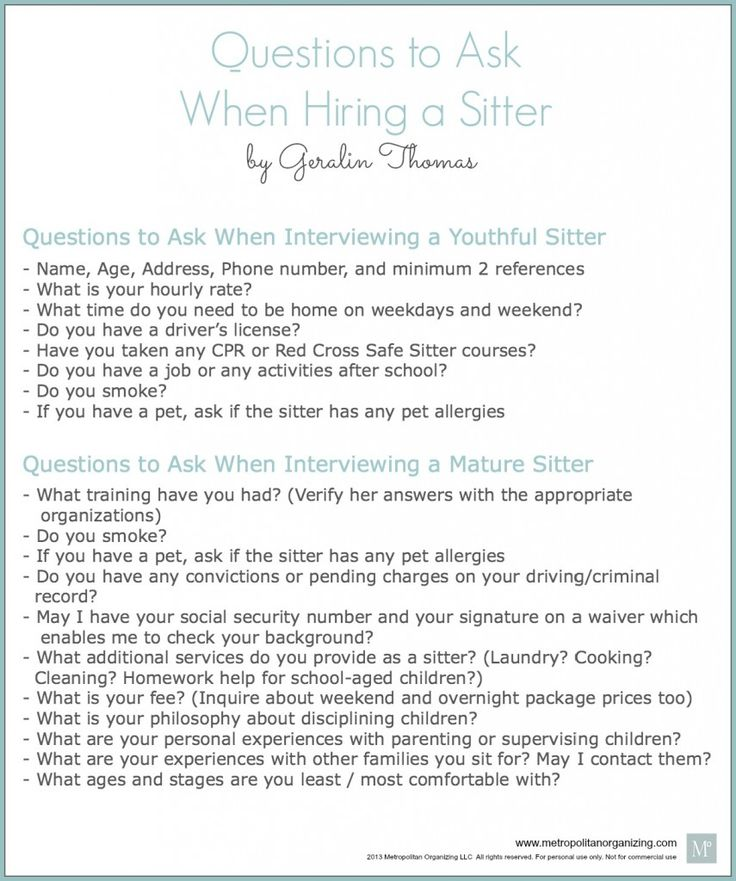 Interviewing a Babysitter - Questions to ask, printable to download.