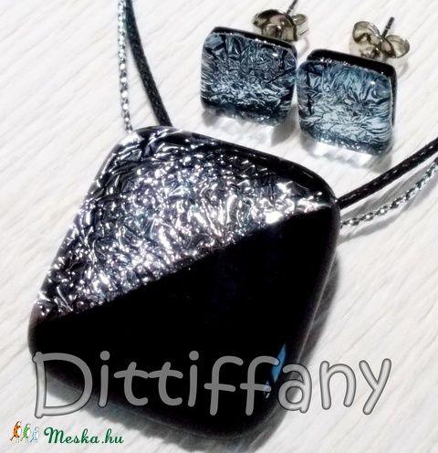 Exkluzív fekete-ezüst ékszerszett, szalagavatóra,  névnapra, születésnapra, karácsonyra. (Dittiffany) - Meska.hu