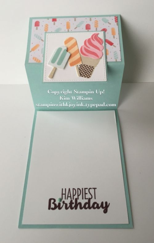 Stampin Up Occasions Catalog 2017. Cool Treats birthday card. Simple Z Fold card. Kim Williams. Pink Pineapple Paper Crafts, Stampin with Kjoyink. Unique card fold tutorial. Its a great card idea for a special birthday, especially if you like ice cream and popcicles.