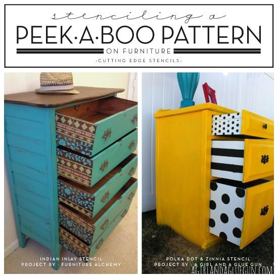 I love the first color scheme. Stenciling A Peek-A-Boo Pattern On Furniture