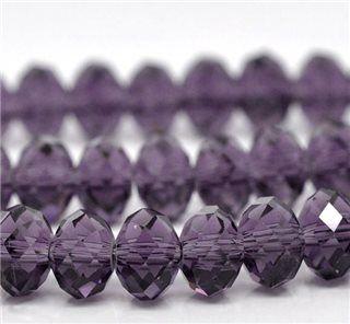 Violet Crystal Faceted Rondelle 8mm - 70 for £2.50