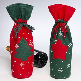 Regalos para navidad, detalles navideños. Bolsa fieltro árbol y estrella, para funda botellas. Medida: 40 cm