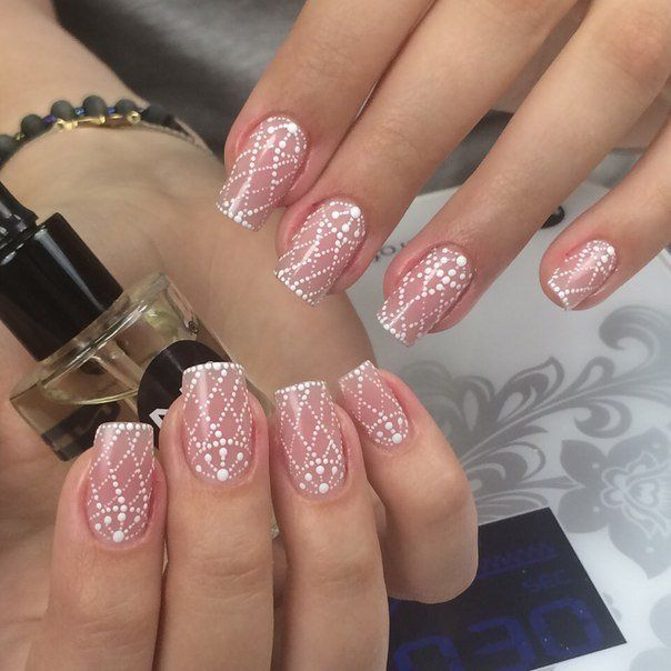 Accurate nails, Beautiful delicate nails, Bridal nails, Fishnet nails, Great nails, Nail veil, Nails for wedding dress, Nails of natural shades