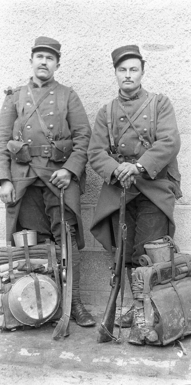 French Army : 2 engineers with their field equipment, probably in the early months of 1915 - © Fond Sic - Miège - Désiré Sic photo