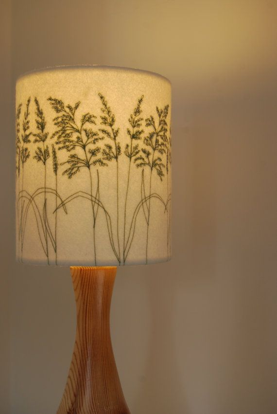 Embroidered Grass Lampshade by MelodyRyder on Etsy