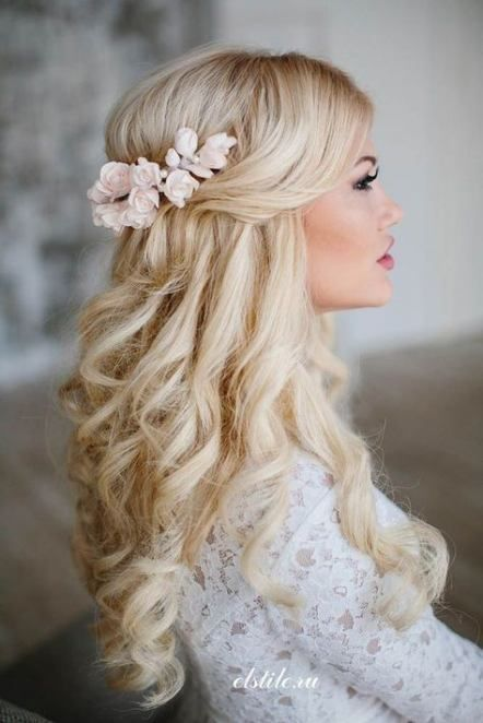 Marriage ceremony Hairstyles Half Up Half Down Curly Flowers 33+ Concepts