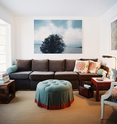 blue painted coffee table with brown couch? red accents // designed by interior design studio Tilton Fenwick