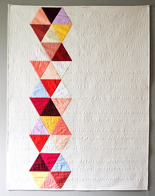 An interpretation of the current trend in bedcovers to have an assymetrical image. | #quilt