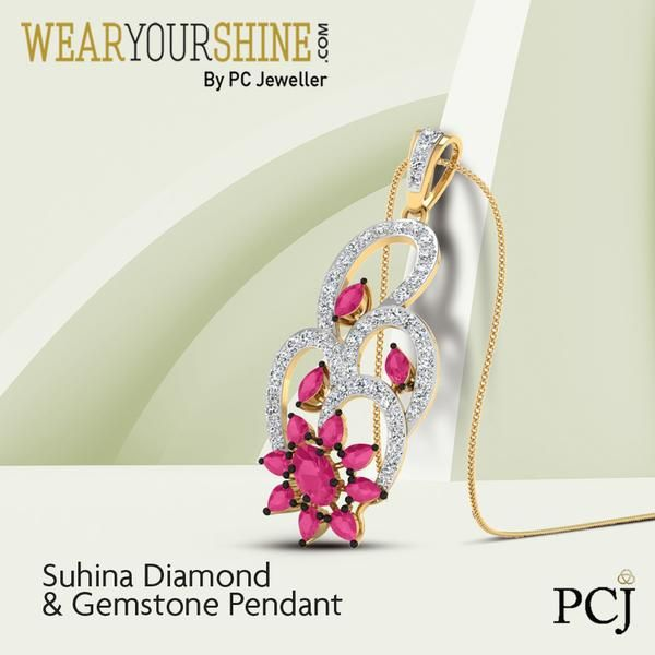 """Enjoy the colours of life with """"The Suhina Diamond and Gemstone Pendant"""" by WearYourShine.  #WearYourShine #PCJeweller #Love #Diamond #Pendants #Gemstones #Ruby #Jewellery #Jewelry #IndianJewellery #Fashion #Trends #Happy"""