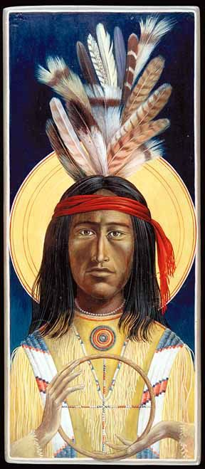 This Archangel Michael by Fr. John Giuliani is done in a Native American style.
