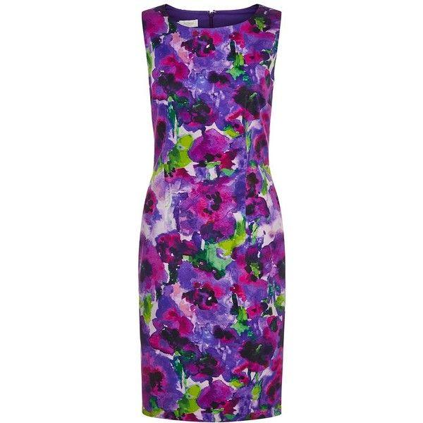 Hobbs Violet Dress featuring polyvore, women's fashion, clothing, dresses, lullabies, clearance, floral print dress, flower print dress, purple summer dresses, maxi dresses and a line dress