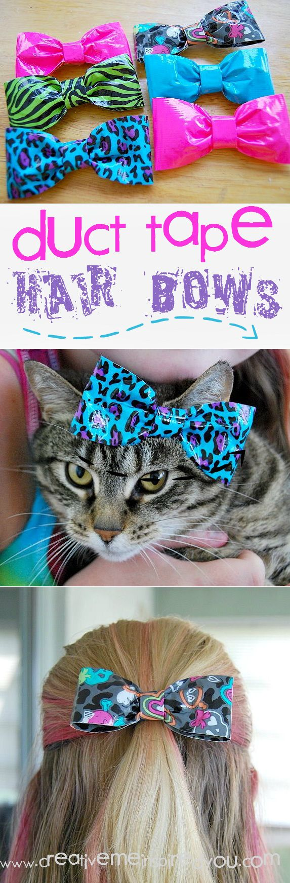 http://creativemeinspiredyou.com/duct-tape-hair-bows/ What a fun fashion craft for the kids to make, we could do this for a sleepover craft!