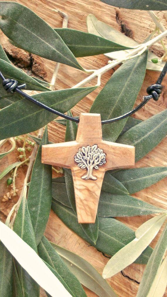 Olive Wood necklace set with Tibetan silver by ellenisworkshop, $35.00
